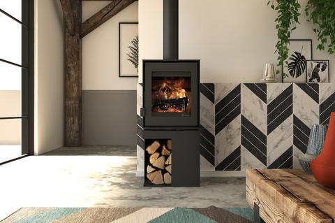 Poêle à bois contemporain, personnalisable grâce à différents supports. Design moderne et performances
