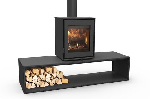 Poêle à bois contemporain, personnalisable grâce à différents supports. Design moderne et performances.