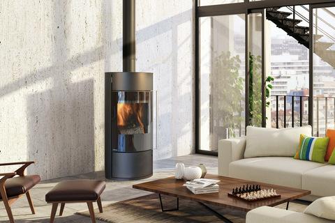 Poêle à bois Fonte Flamme Lona noir, porte verre sérigraphié (option), avec accumulateur (option)